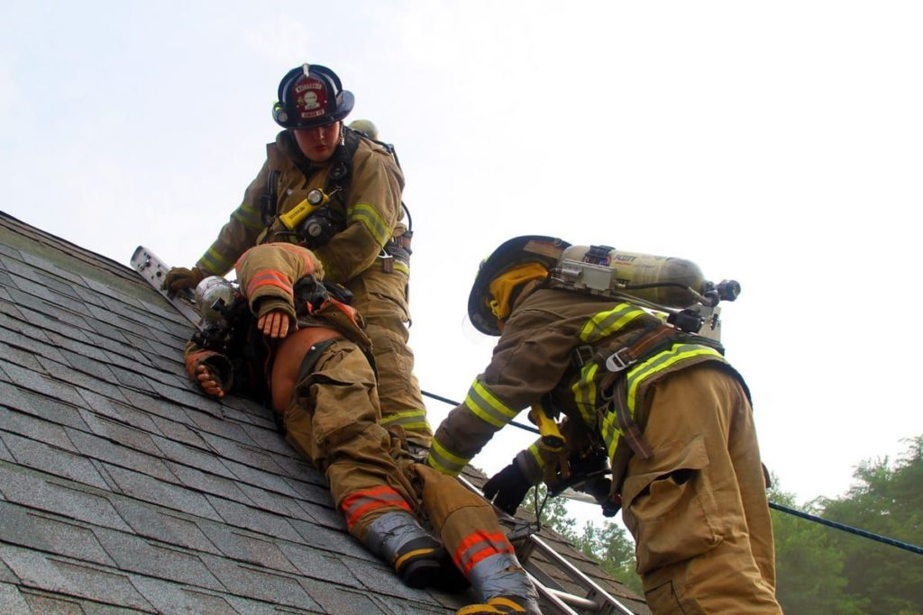 Youth training on roof
